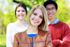 Group of students in park Royalty Free Stock Photos