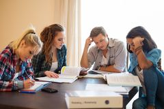 Group of students preparing for exams Royalty Free Stock Images