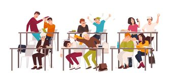 Group of students or pupils sitting at desks in classroom and demonstrating bad behavior - fighting, eating, sleeping. Surfing internet on smartphone during royalty free illustration