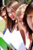 Group of students reading books Royalty Free Stock Photography