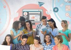 Group of students reading in front of social media graphics. Digital composite of Group of students reading in front of social media graphics Stock Photo