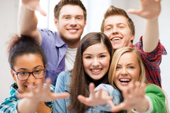 Group of students at school Stock Photo