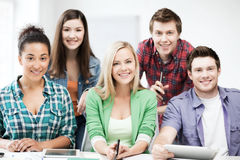 Group of students at school Royalty Free Stock Photos