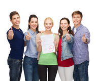Group of students showing test and thumbs up Stock Images