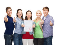 Group of students showing test and thumbs up Royalty Free Stock Photography