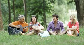 Group of students sing songs sitting on the lawn in the city Park.  Royalty Free Stock Images