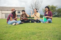 Group Students Smile and have fun It also helps to share ideas i stock image