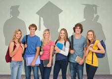 Group of students standing in front of  graduate shadows. Digital composite of Group of students standing in front of  graduate shadows Stock Images