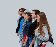 Group of Students Standing in a Line. Group of Students Standing in a Line Royalty Free Stock Image