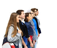Group of Students Standing. In a Line Royalty Free Stock Images