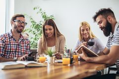 Group of students study at home. Learning and preparing for university exam Royalty Free Stock Photography