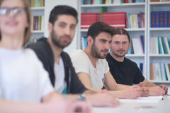 Group of students study together in classroom Royalty Free Stock Photos