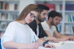 Group of students study together in classroom Royalty Free Stock Photo