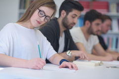 Group of students study together in classroom Royalty Free Stock Photography