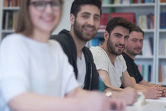 Group of students study together in classroom Royalty Free Stock Image