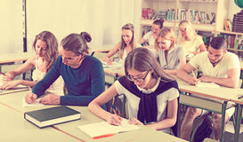 Group of students studying  in classroom Royalty Free Stock Photo