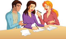 Group of students studying. Happy group of young college students studying together Vector Illustration