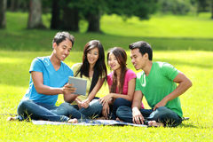 Group of students studying in the park Royalty Free Stock Photos