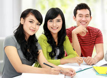 Group of students studying together Stock Images