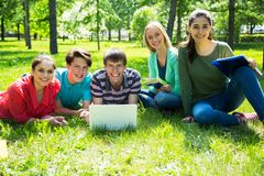 Group of students studying together stock photography