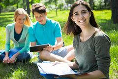 Group of students studying together royalty free stock photo