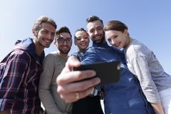 Group of students taking a selfie Royalty Free Stock Photography