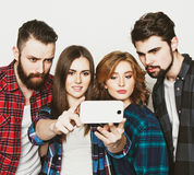 Group of students taking selfie Stock Photo