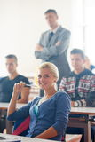 Group of students with teacher on class Stock Image