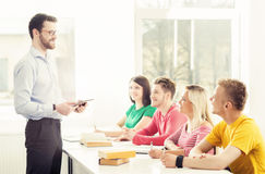 Group of students and a teacher at the lesson Royalty Free Stock Images