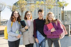 Group of students with teacher, teenagers talking to a female teacher stock photography