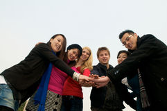 Group of Students team spirit. Group of 6 students outdoor Stock Photos