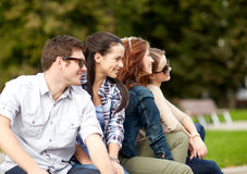 Group of students or teenagers hanging out Royalty Free Stock Photo