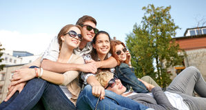 Group of students or teenagers hanging out Royalty Free Stock Photos
