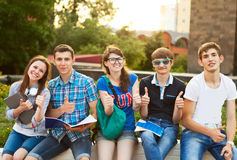 Group of students or teenagers with notebooks outdoors Royalty Free Stock Photo