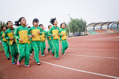 A group of students to do physical exercise Stock Photo