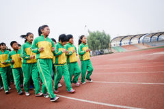 A group of students to do physical exercise Stock Image