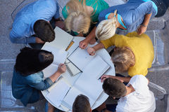 Group of students  top view Royalty Free Stock Photos