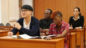 Group of Students at University. On Classes anв Student Answer a Question stock footage