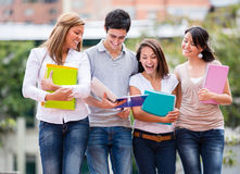 Group of students walking Stock Image