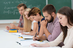 Group of students at work in the classroom. Group of diverse young students at work in the classroom sitting at a long table working on their notes and studies Royalty Free Stock Photography
