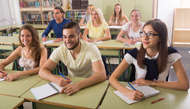 Group of  students working in classroom Royalty Free Stock Image