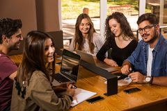 Group of students working together Royalty Free Stock Photos