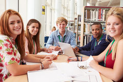 Group Of Students Working Together In Library Royalty Free Stock Images