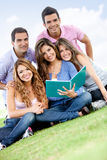 Group studying outdoors Stock Images