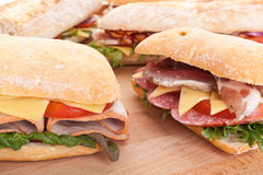Group of stuffed ciabatta sandwiches stock images