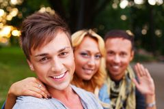 Group of stylish friends outdoors Stock Photography