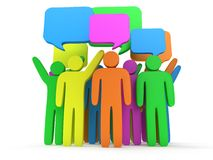 Group of stylized colored people with chat bubbles Stock Photos