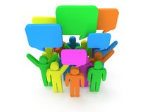 Group of stylized colored people with chat bubbles. Stand on white.  3d render icon. Teamwork, business, conference, concept Stock Images