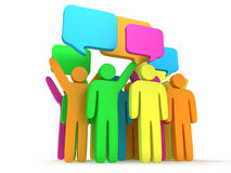 Group of stylized colored people with chat bubbles Royalty Free Stock Image