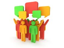 Group of stylized colored people with chat bubbles Royalty Free Stock Photography